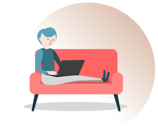 A person on a sofa with a laptop - online therapy through Zoom at Kensington Counselling Rooms