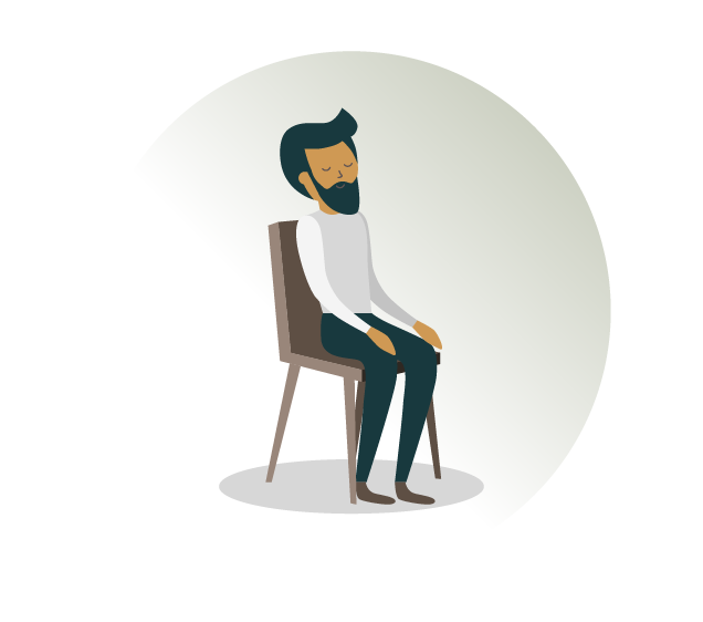 A man seating in a chair with closed eyes - an example of Transcendental Meditation class